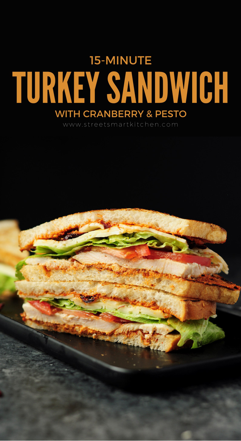 Delicious turkey sandwich assembled with turkey breast, cranberry, fresh tomatoes, lettuce, Havarti cheese and chipotle pecanpesto. Ready in 15 minutes!