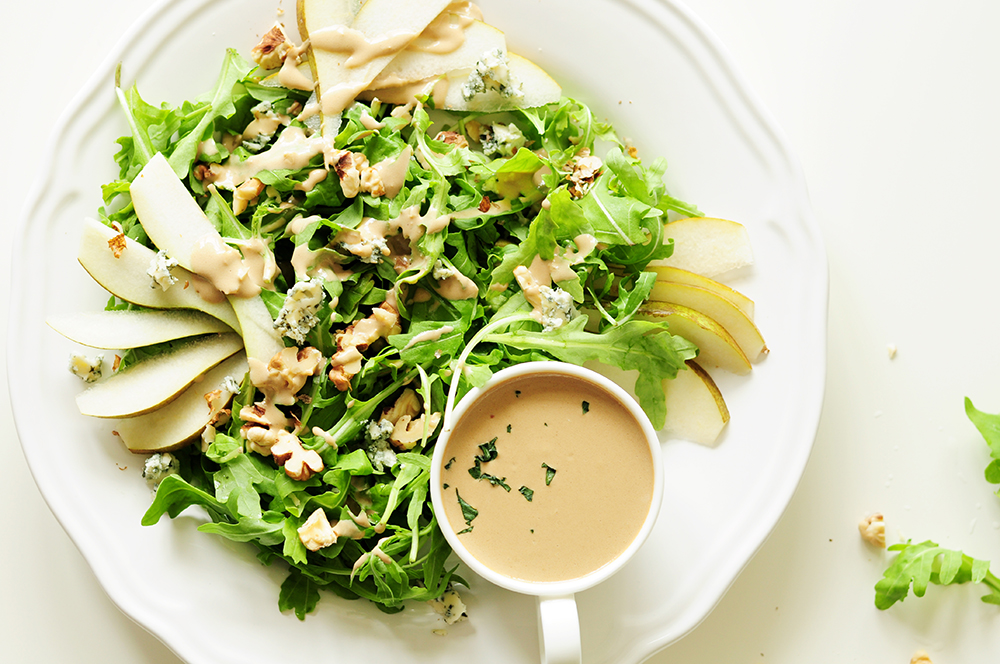 Arugula Pear Salad with Tahini Dressing