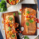 Cedar Plank Salmon with Peach Pico De Gallo