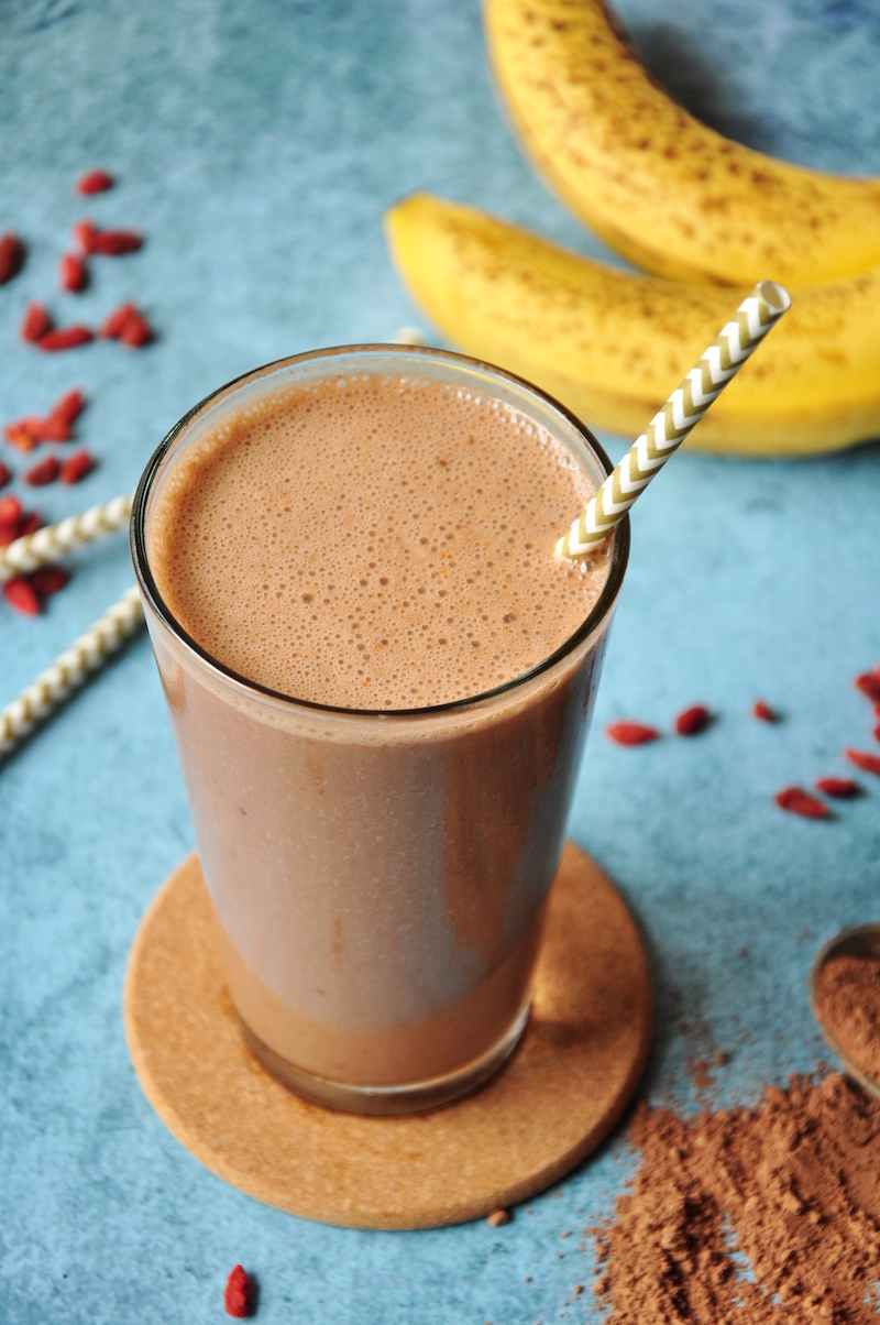 Chocolate Banana Smoothie with Goji Berries - StreetSmart Kitchen