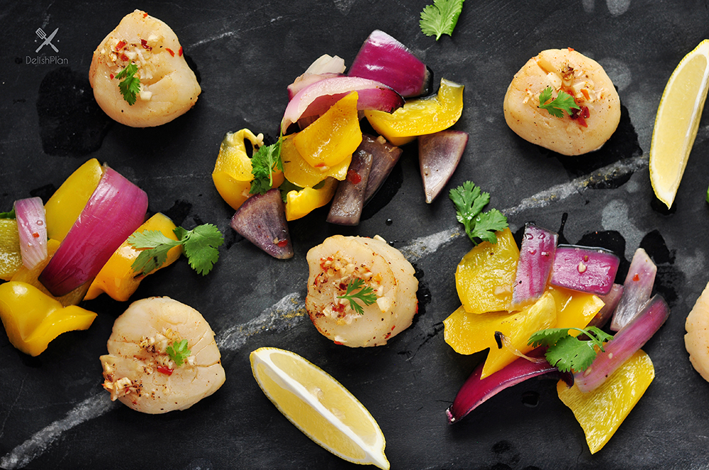 Cedar Plank Beer Scallops with Roasted Vegetables