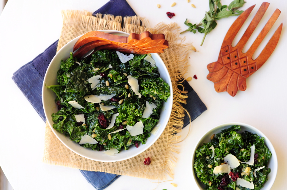 Massaged Kale Salad with Pine Nuts and Dried Cranberries
