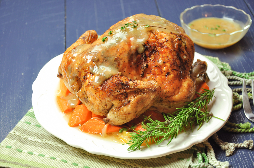 Roasted Lemon Herb Whole Chicken With Carrots And Onion Streetsmart Kitchen