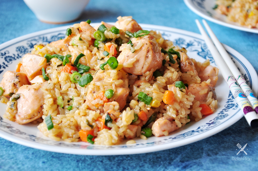 Salmon Fried Rice With Green Onions