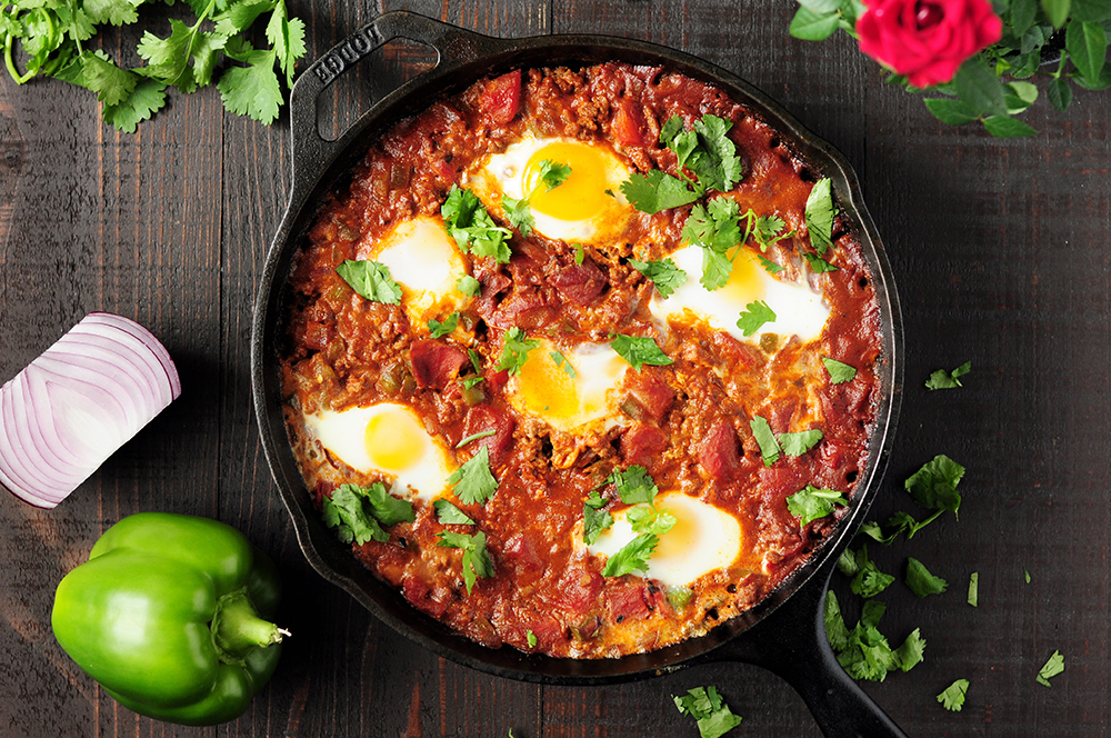 Shakshuka Recipe with Red Enchilada Sauce