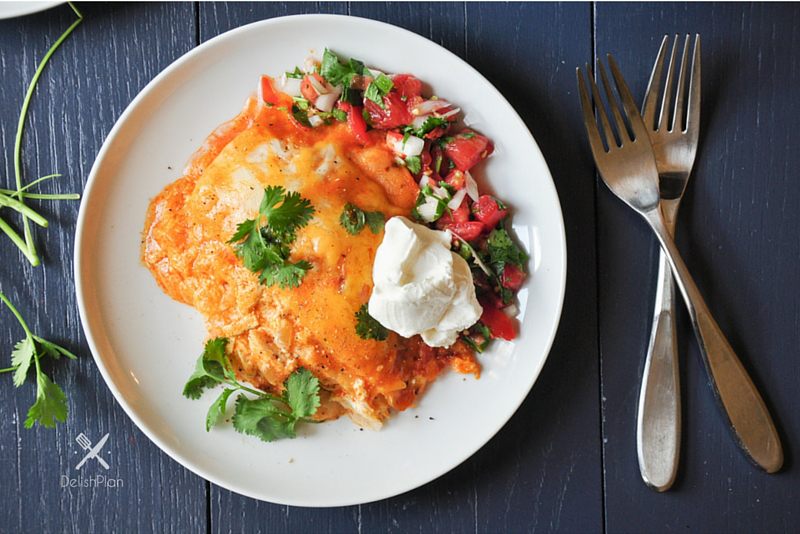Slow Cooker Stacked Chicken Enchiladas
