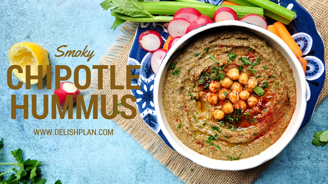 Smoky, garlicky, totally earthy and uber delicious chipotle hummus that's ready in 5 minutes! (Vegan & GF)