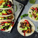 20-minute vegetarian tacos with bell peppers and portobello mushrooms cooked in a savory citrus sauce. It's a great meatless meal for your weekly meal plan.